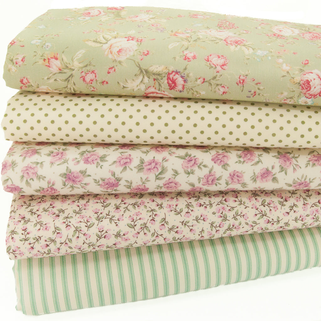 Rose & Hubble - Floral, Spots & Stripes - 100% Cotton Fat Quarter Bundle - Mint