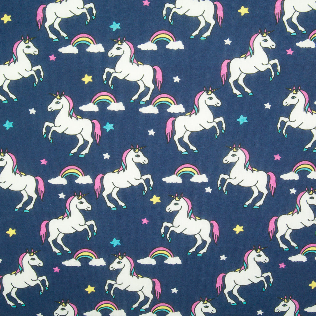Unicorn, Rainbow & Stars on Navy -  100% Cotton Fabric