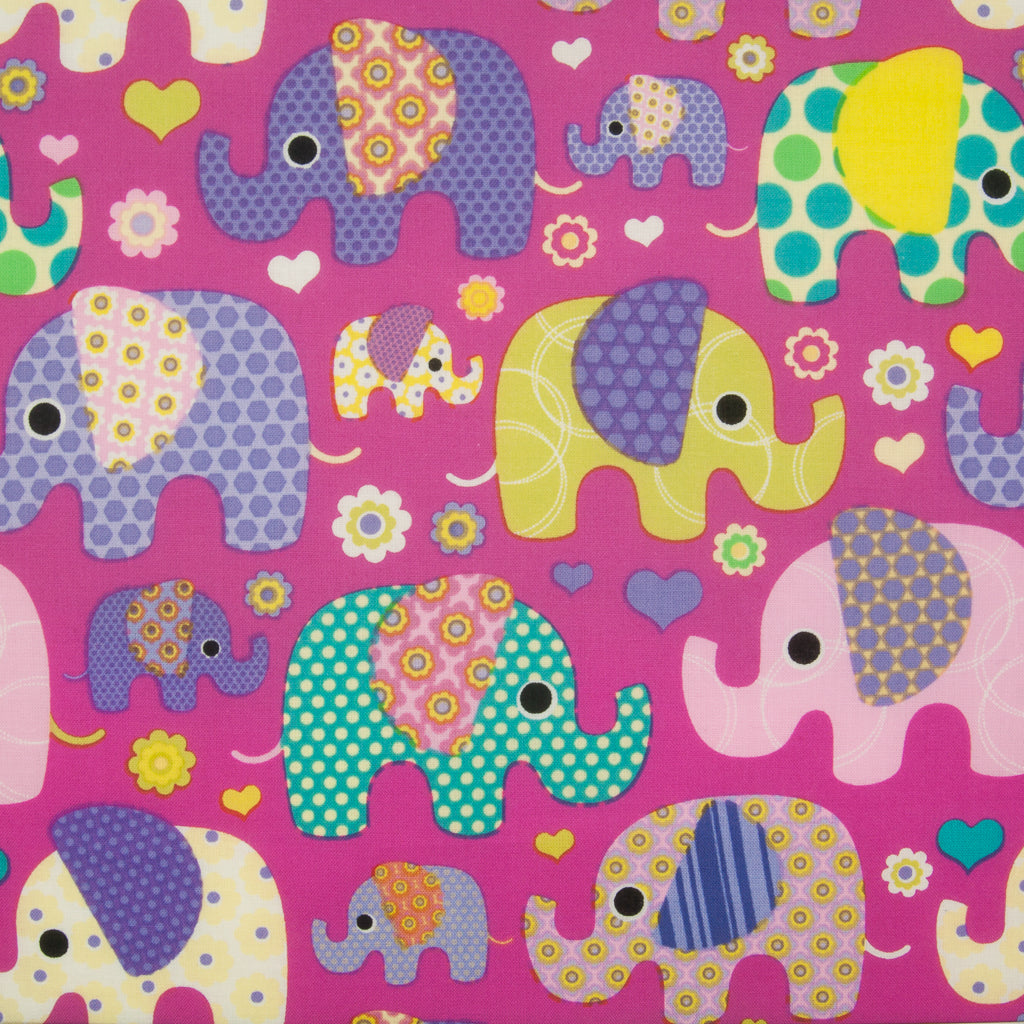 Patchwork Elephant on Pink -  100% Cotton Fabric