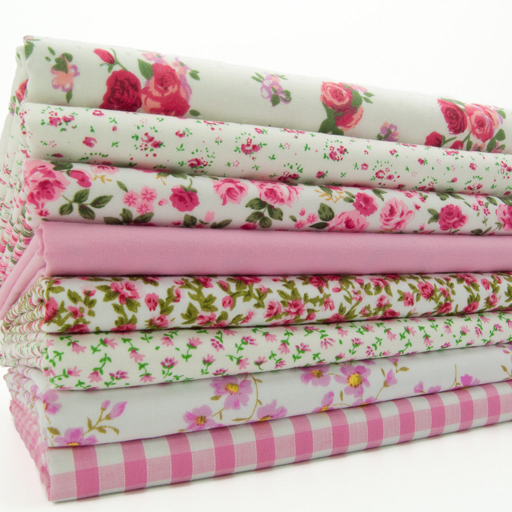 Fat Quarter Bundle of 8 - Pink Shabby Chic Florals
