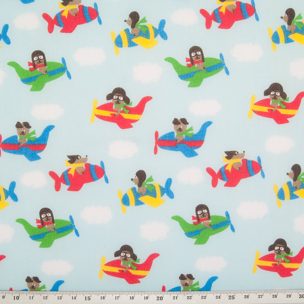 Eric the Aeroplane - Red - Polycotton Fabric