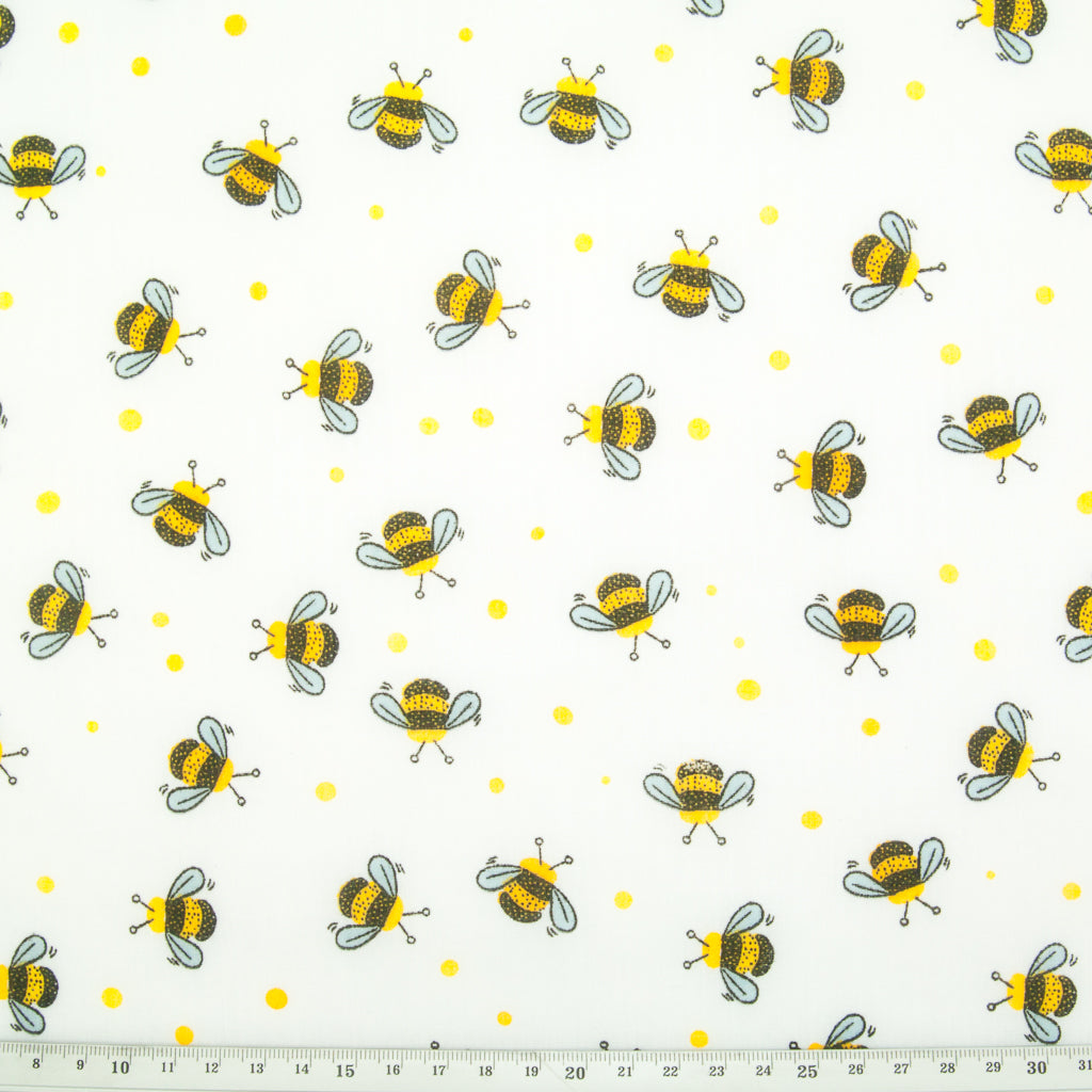 Busy Bumble Bees on White - Polycotton Fabric