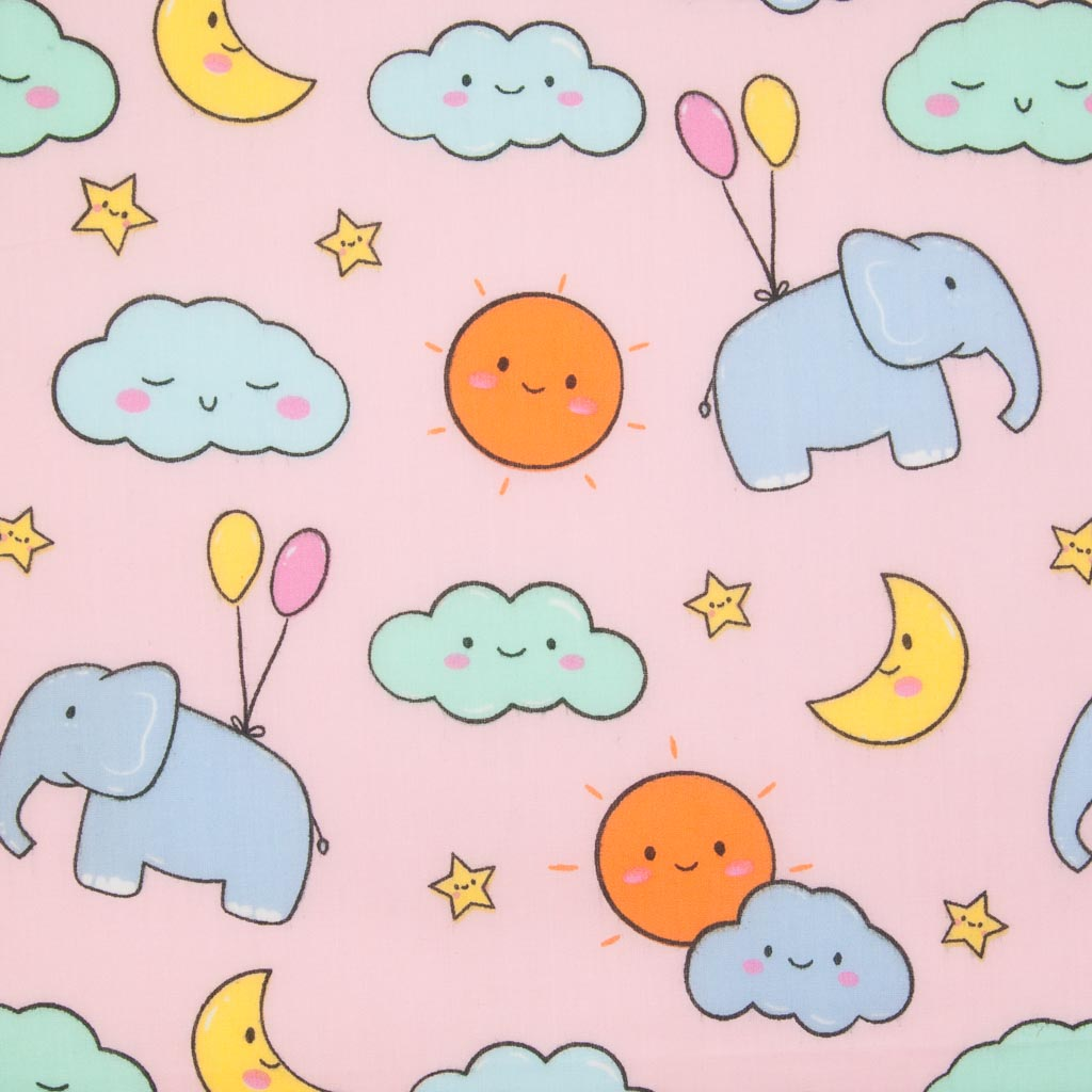 Blue elephants, pink and yellow balloons with orange sunshine and yellow moons printed on a pink polycotton fabric