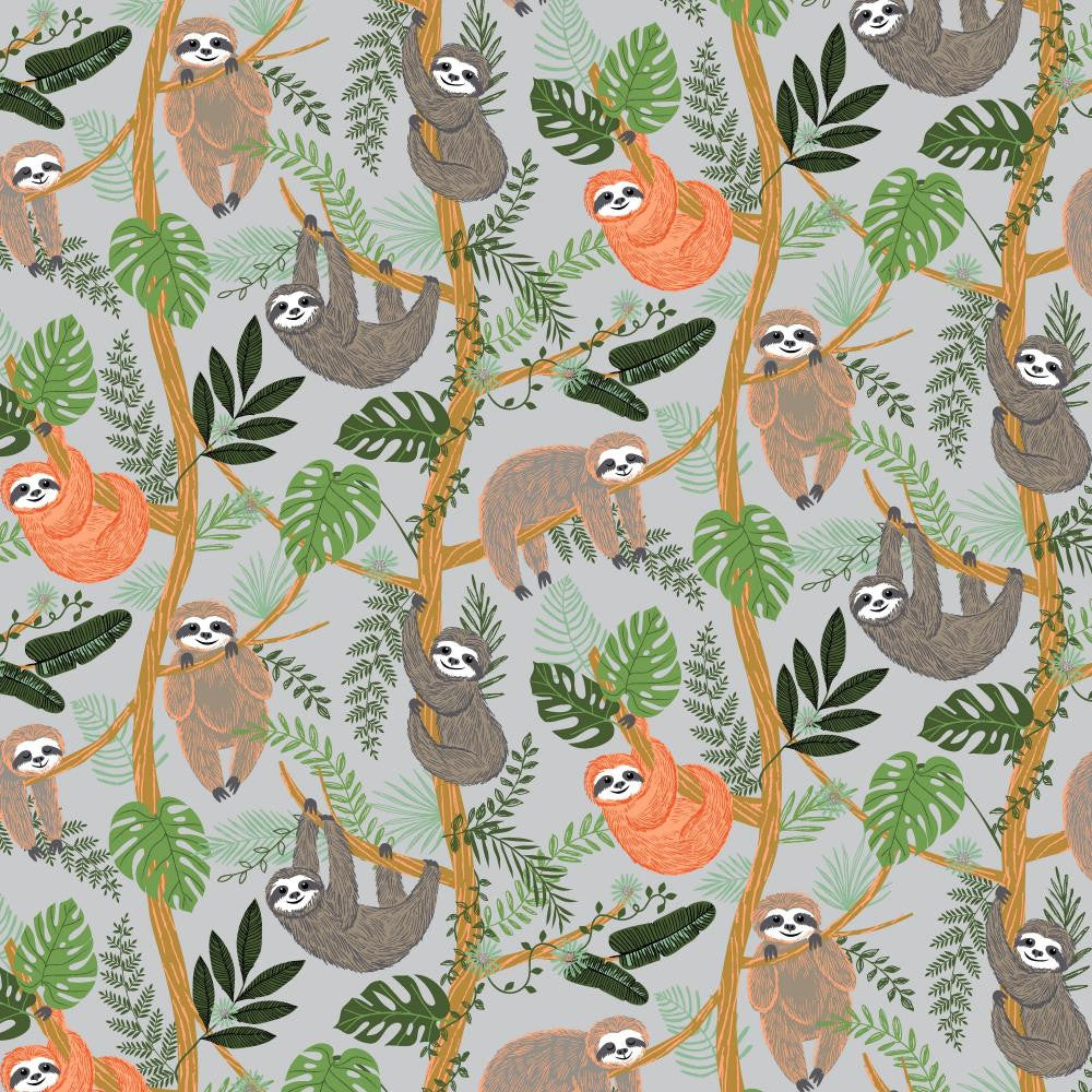 Digital print of smiling happy grey and orange sloths hanging on vines on cotton jersey fabric