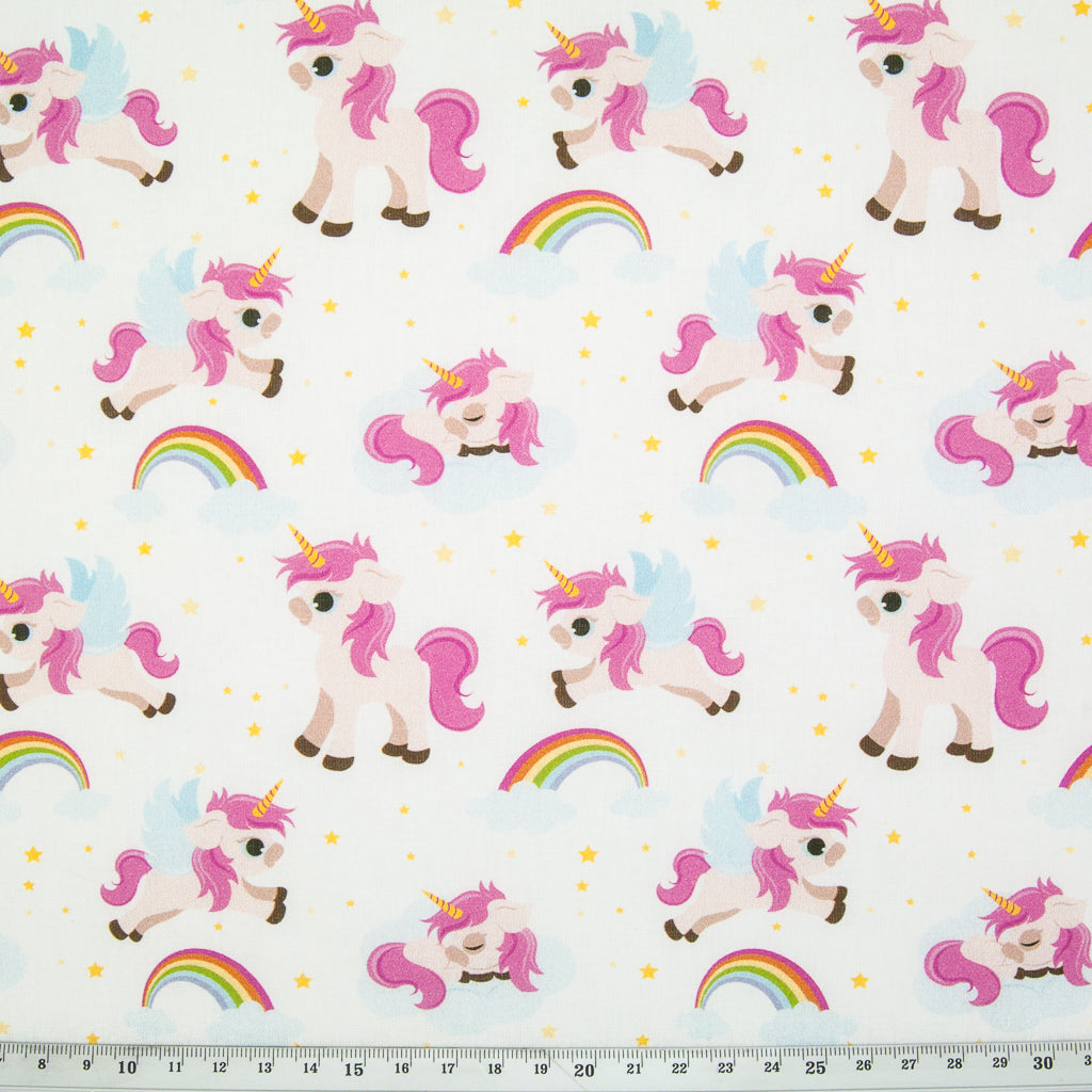 Baby Unicorn on White- 100% Cotton Fabric
