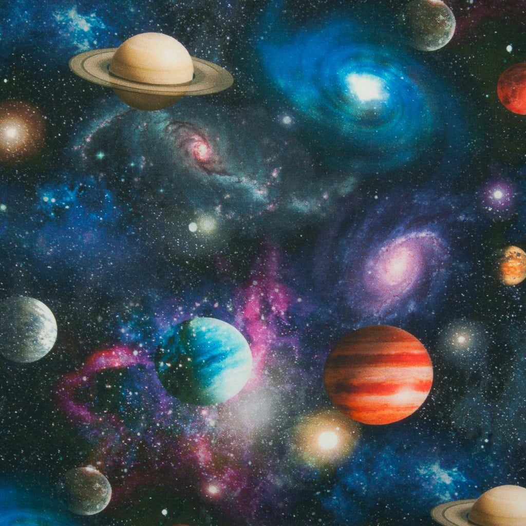 Planets & Galaxy - 100% Cotton Fabric