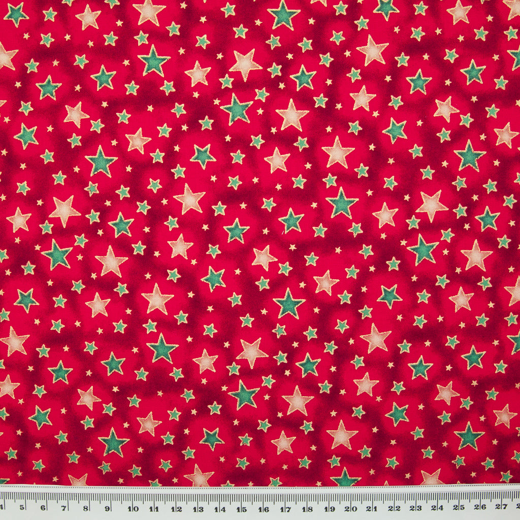 Metallic Green & Ivory Christmas Star on Red - 100% Cotton