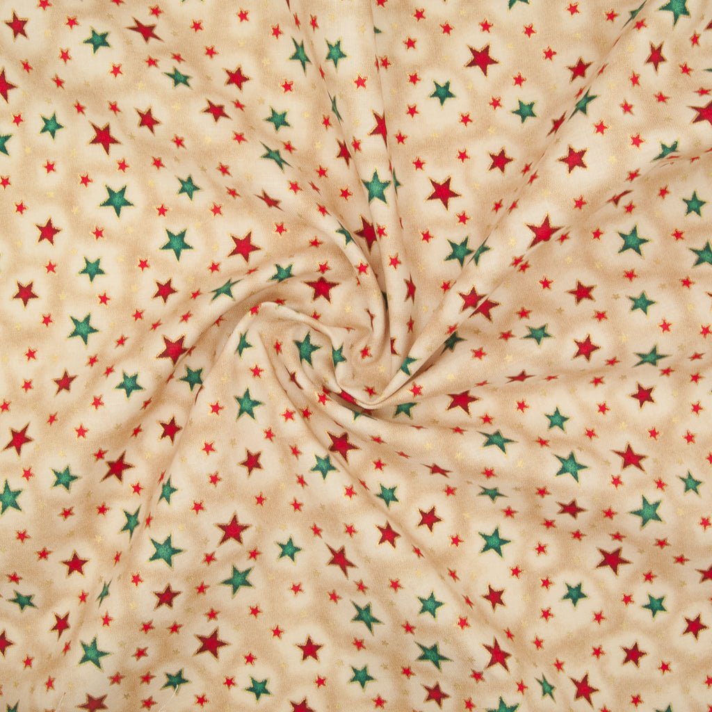 Metallic Red & Green Christmas Star Ivory - 100% Cotton