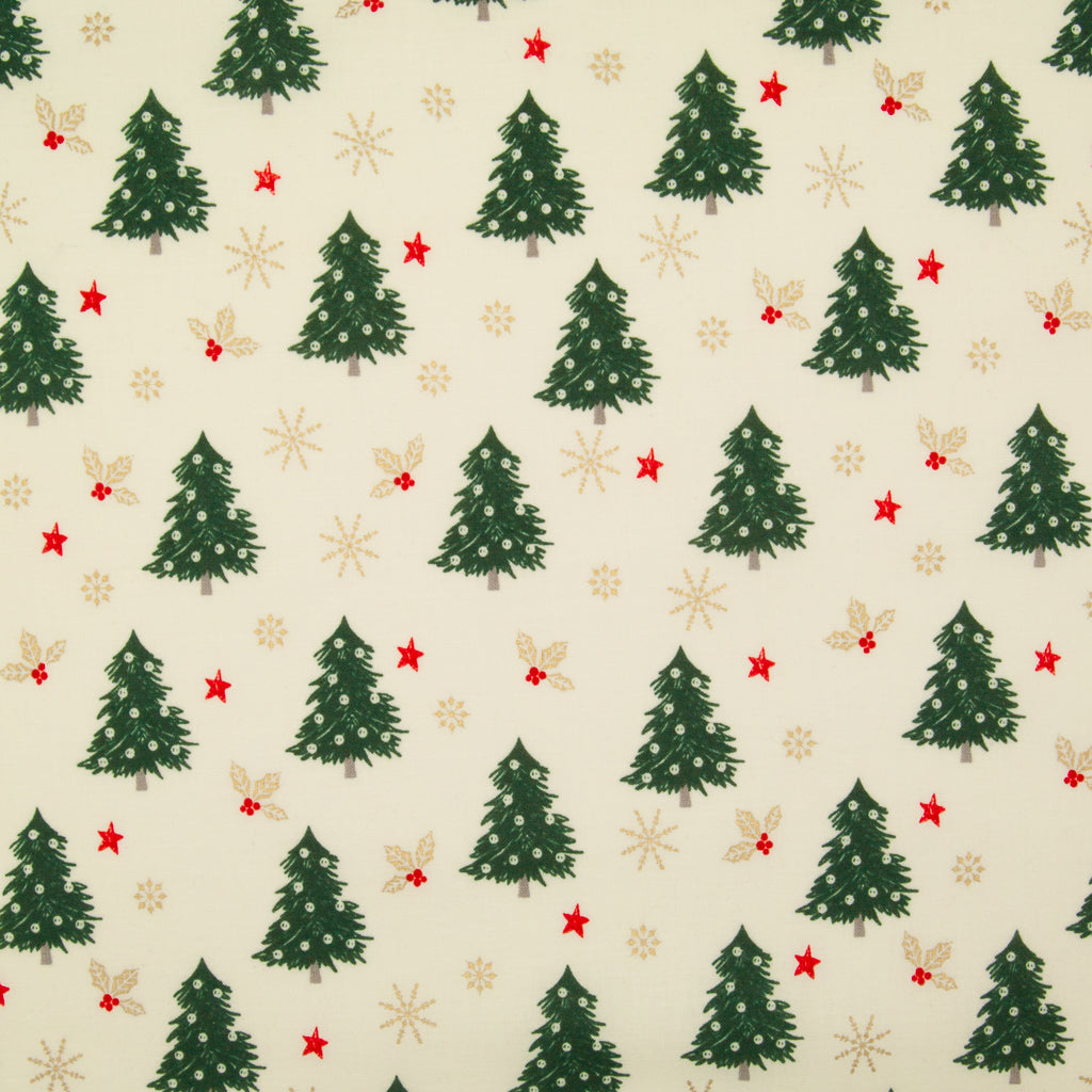 Christmas Trees with Gold Snowflake & Holly on Ivory - 100% Cotton Fabric