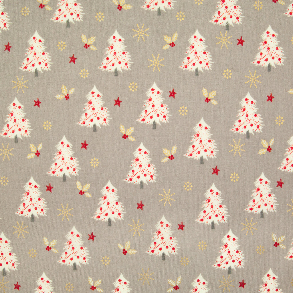Christmas Trees with Gold Snowflake & Holly on Silver - 100% Cotton Fabric
