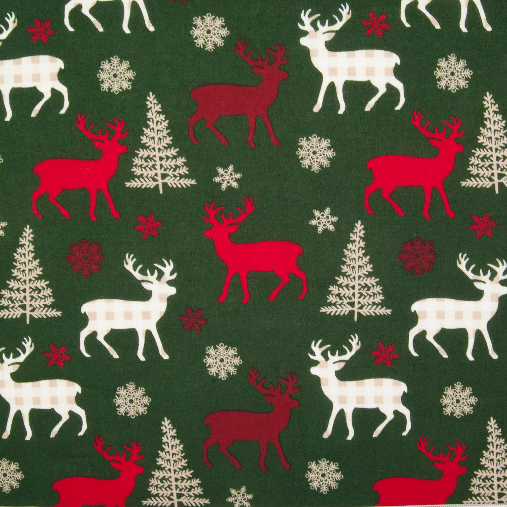 Red & Ivory Reindeer on Bottle Green - 100% Cotton Fabric