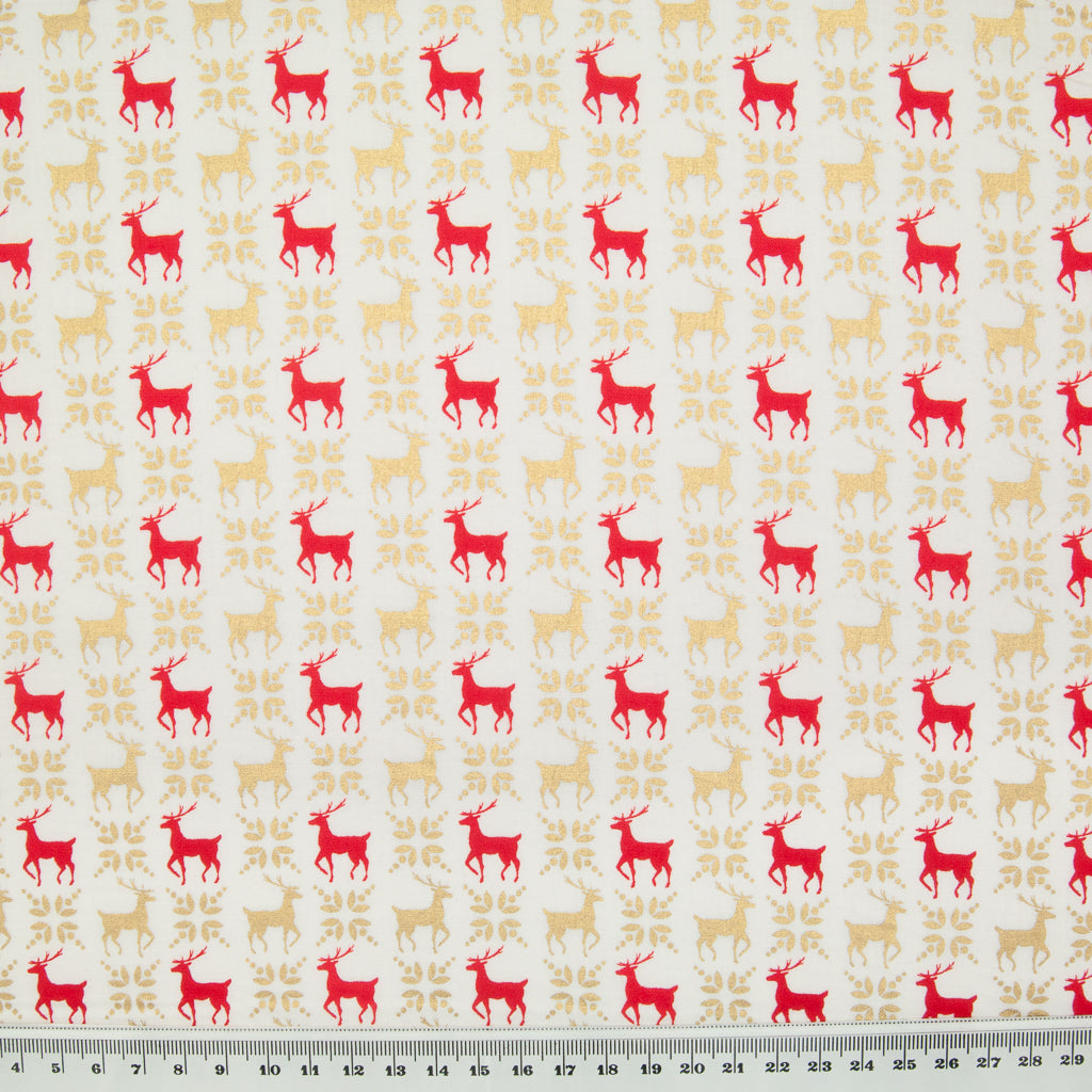 Red & Metallic Gold Reindeer on Ivory - 100% Cotton Fabric
