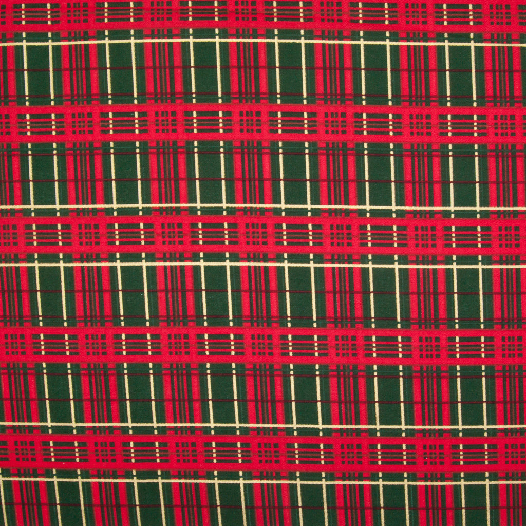 New Christmas Tartan - Red & Gold on Green - 100% Cotton Fabric