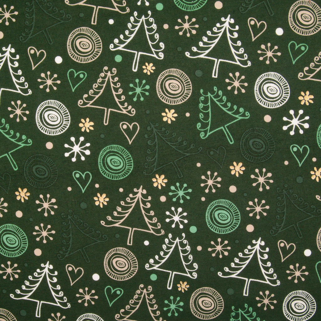 Swirly Christmas Tree & Metallic Gold Snowflake on Green - 100% Cotton Fabric