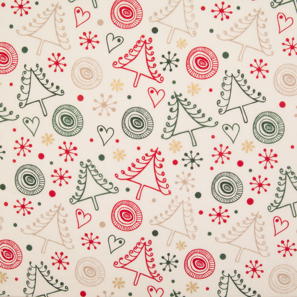 Swirly Christmas Tree & Metallic Gold Snowflake on Ivory - 100% Cotton Fabric