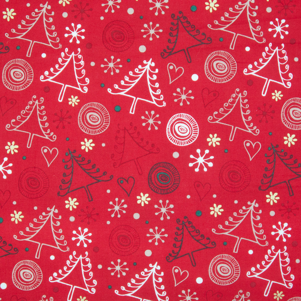 Swirly Christmas Tree & Metallic Gold Snowflake on Red - 100% Cotton Fabric