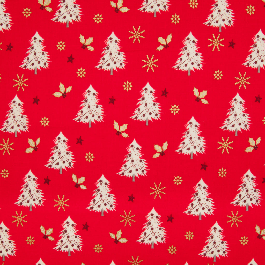 Christmas Trees with Gold Snowflake & Holly on Red- 100% Cotton Fabric