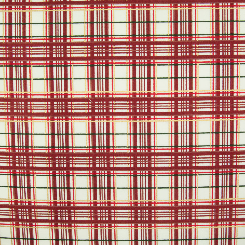 Wine & Ivory Christmas Tartan - 100% Cotton Fabric