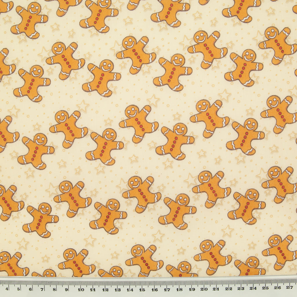 Gingerbread Man & Star on Cream - Christmas Polycotton