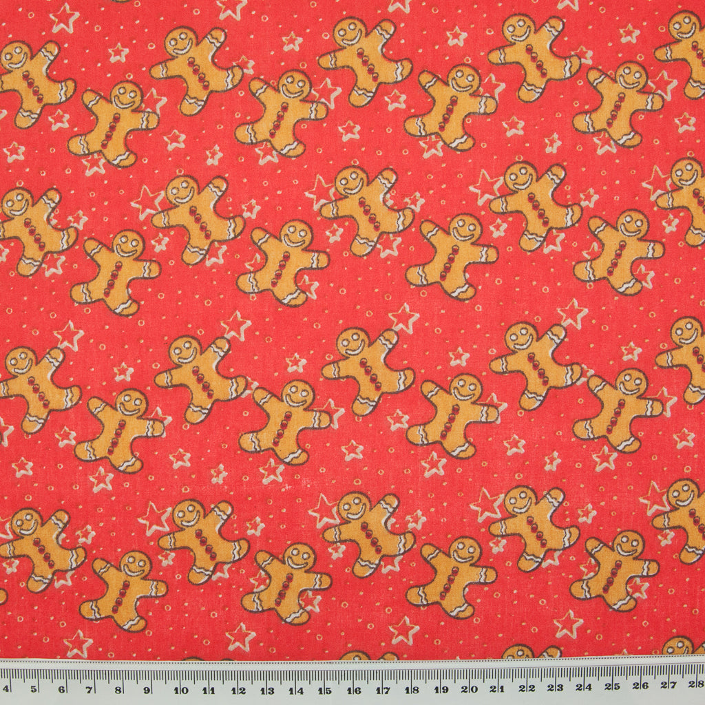 Gingerbread Man & Star on Red - Christmas Polycotton