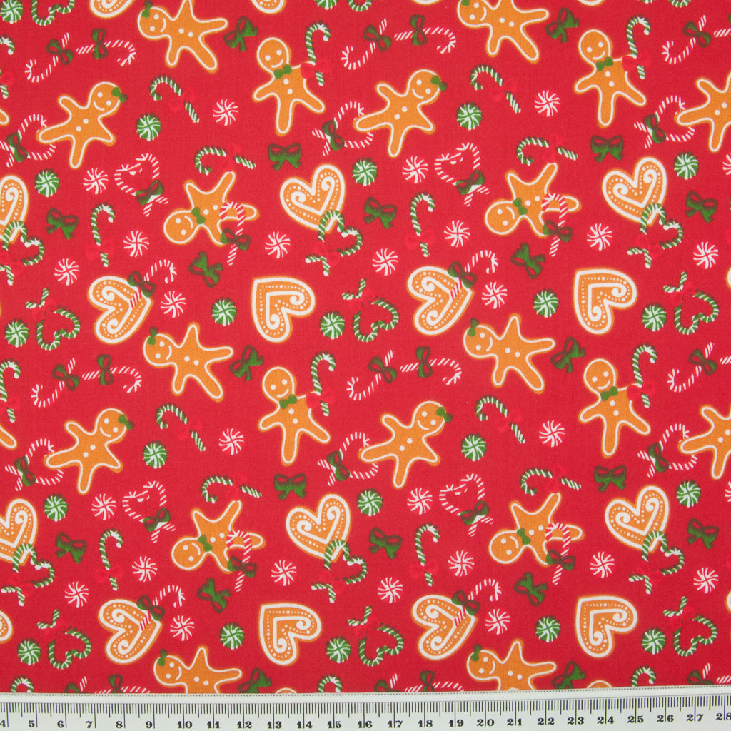 Gingerbread Man & Heart on Red - Christmas Polycotton