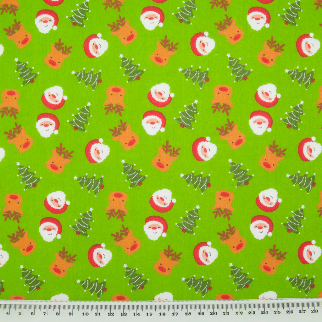 Santa, Reindeer & Tree on Green - Christmas Polycotton