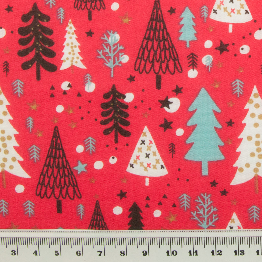 Scandi Tree on Red - Christmas Polycotton