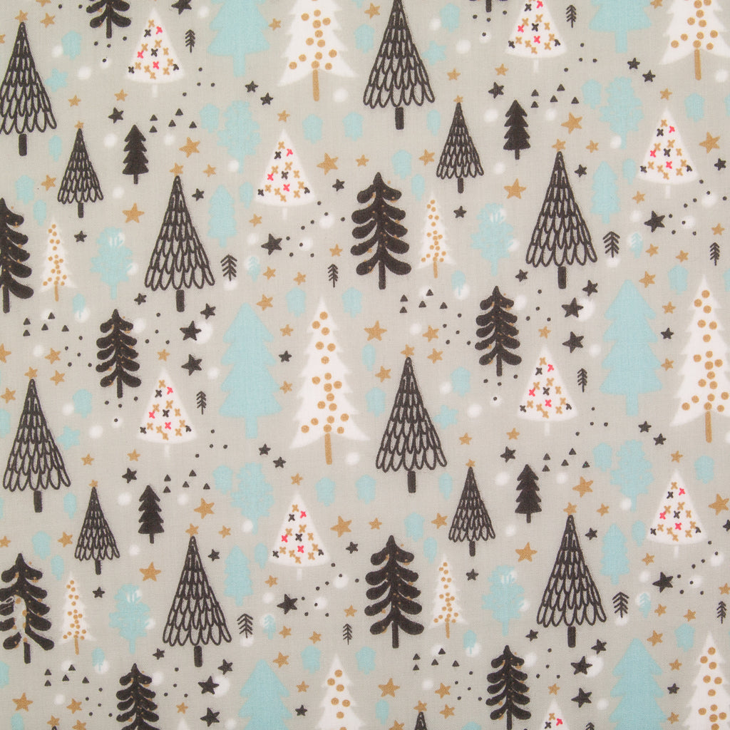 Scandi Tree on Silver - Christmas Polycotton