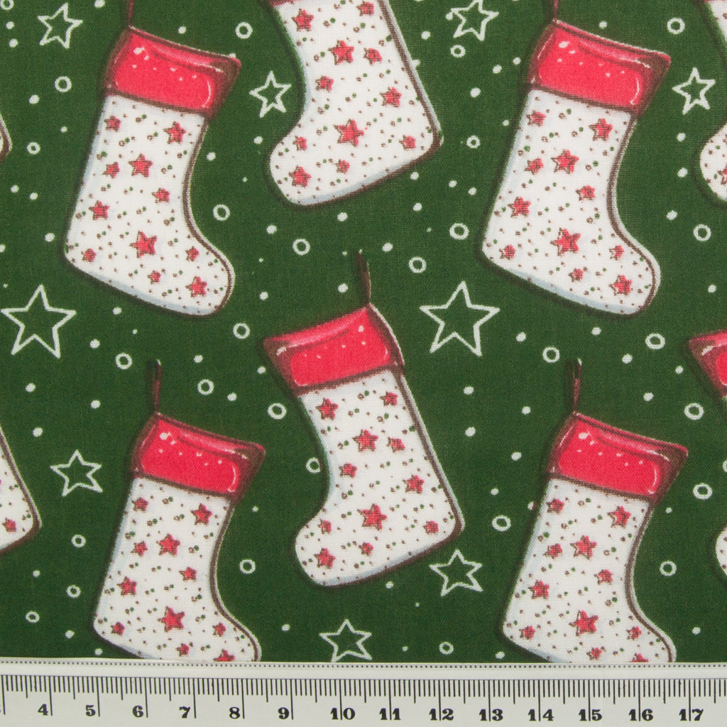 Stocking & Star on Green - Christmas Polycotton