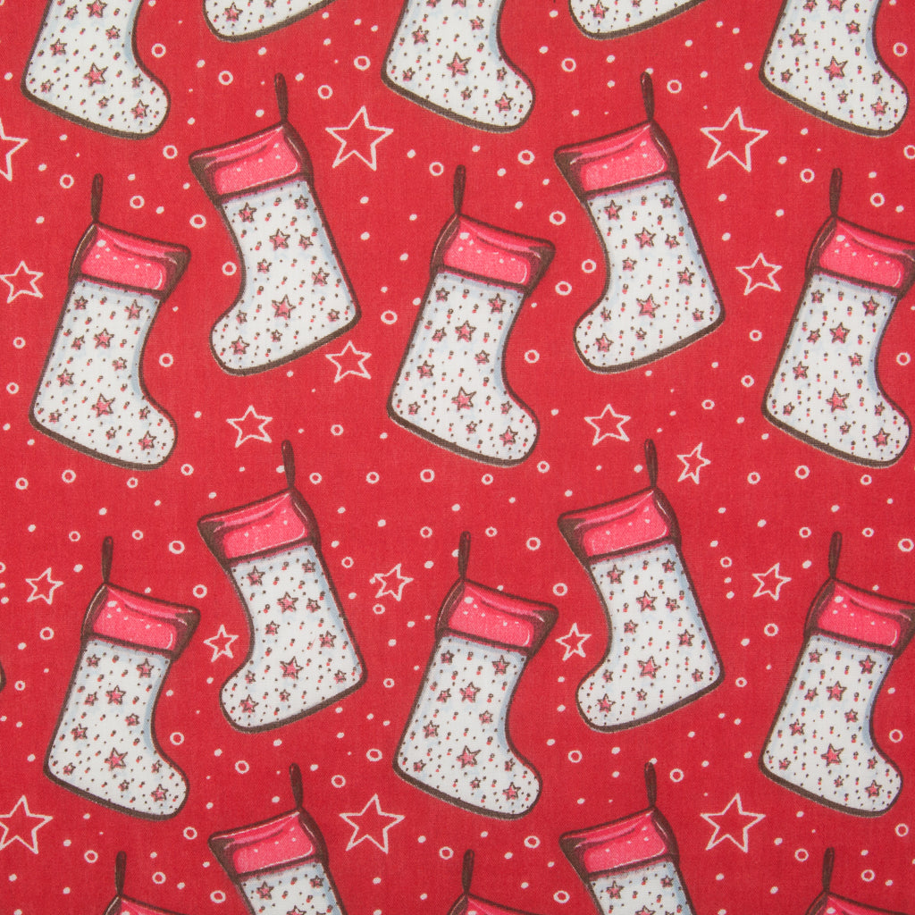 Stocking & Star on Red - Christmas Polycotton