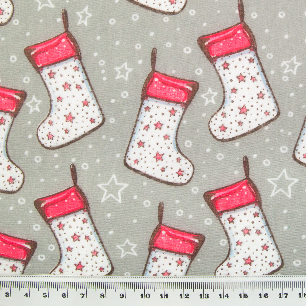 Stocking & Star on Silver - Christmas Polycotton