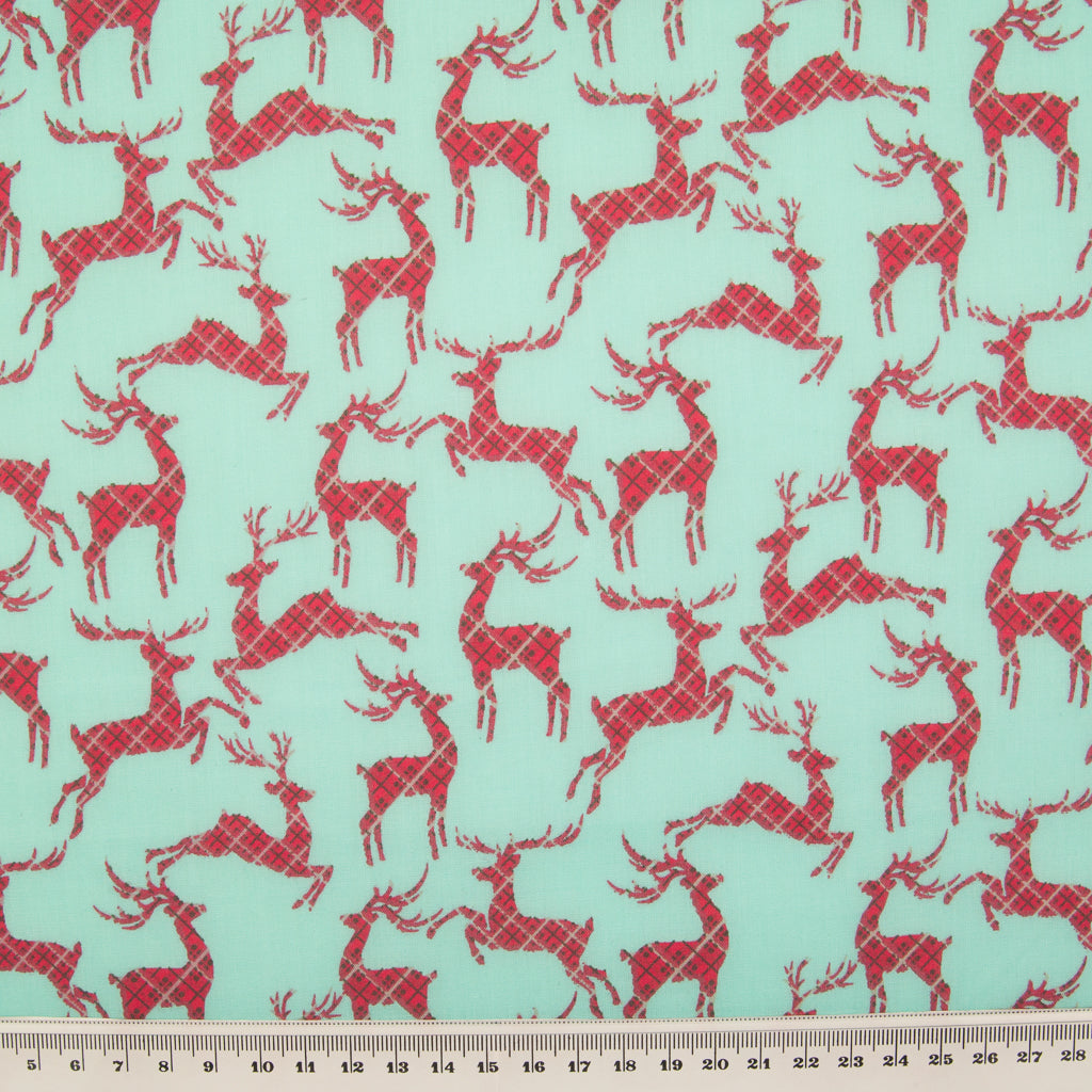 Tartan Reindeer on Aqua - Christmas Polycotton