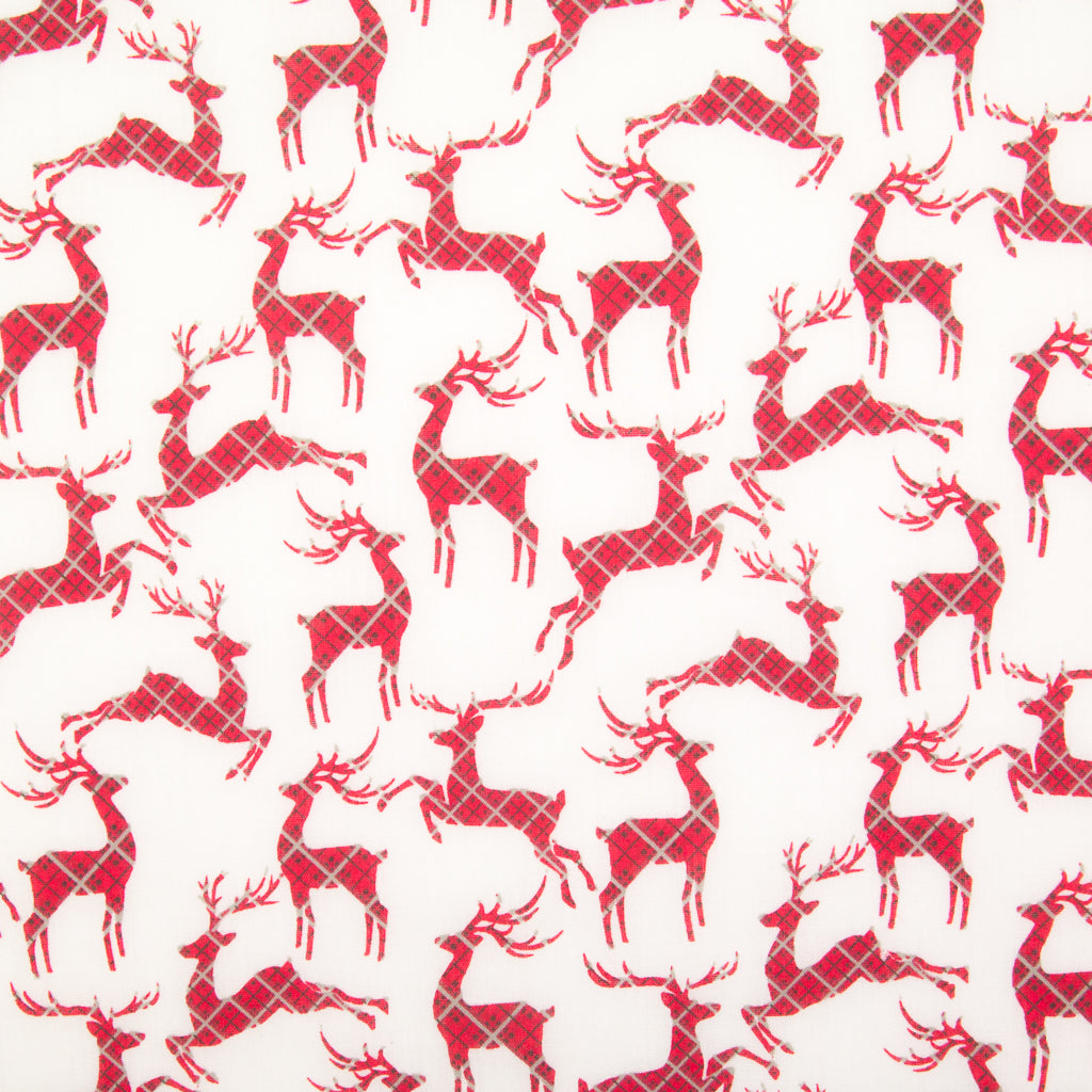 Tartan Reindeer on White - Christmas Polycotton