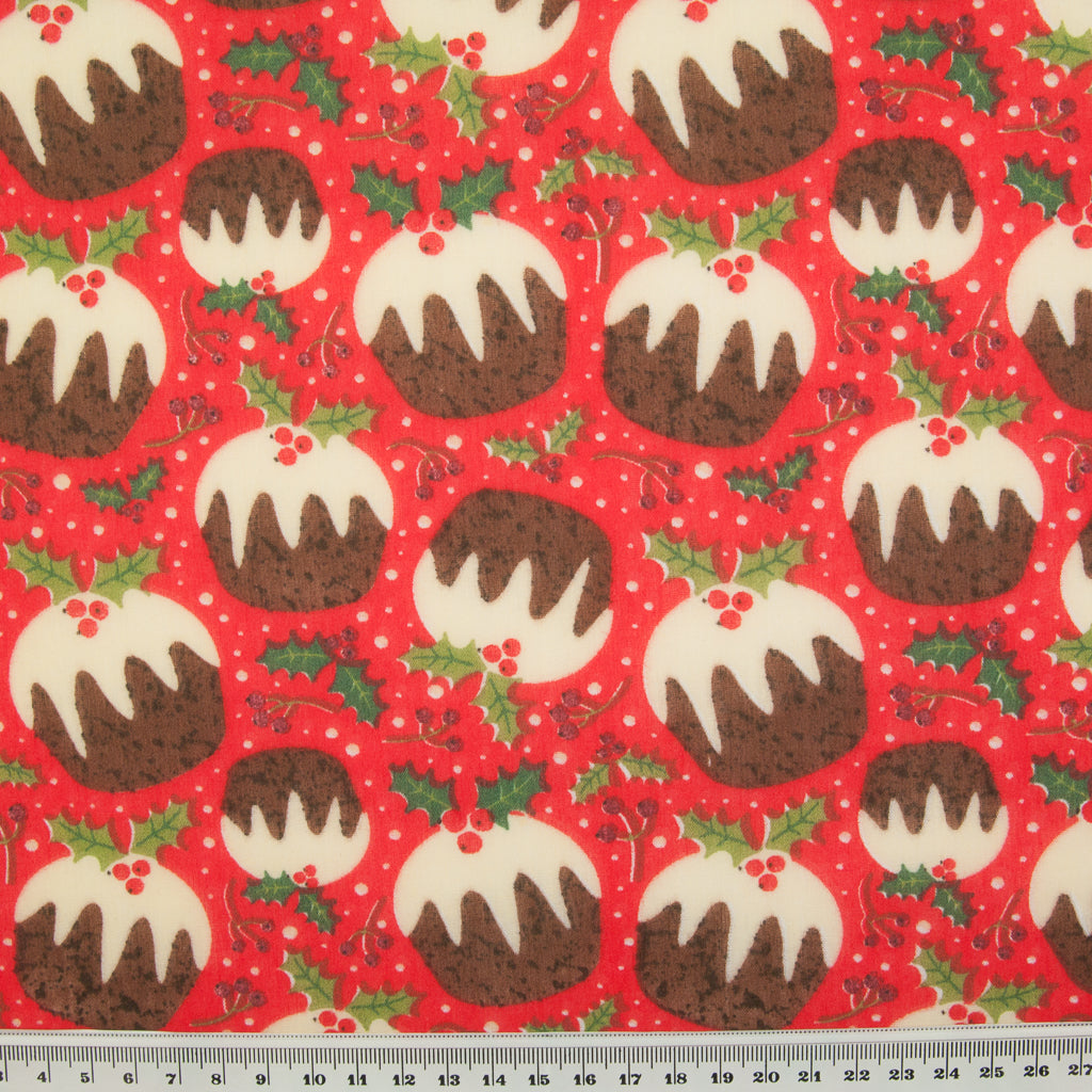 Puddings & Holly on Red - Christmas Polycotton