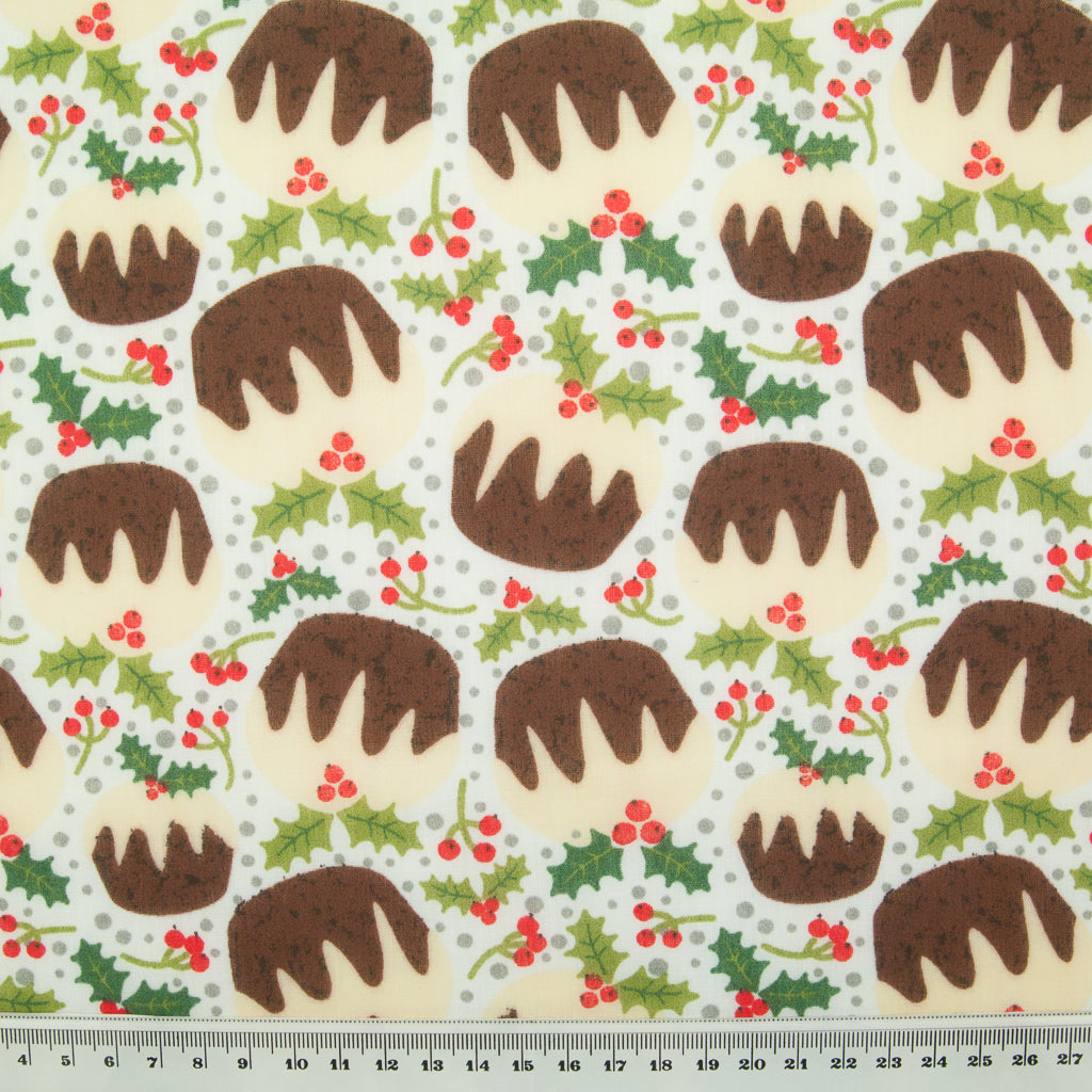 Puddings & Holly on White - Christmas Polycotton
