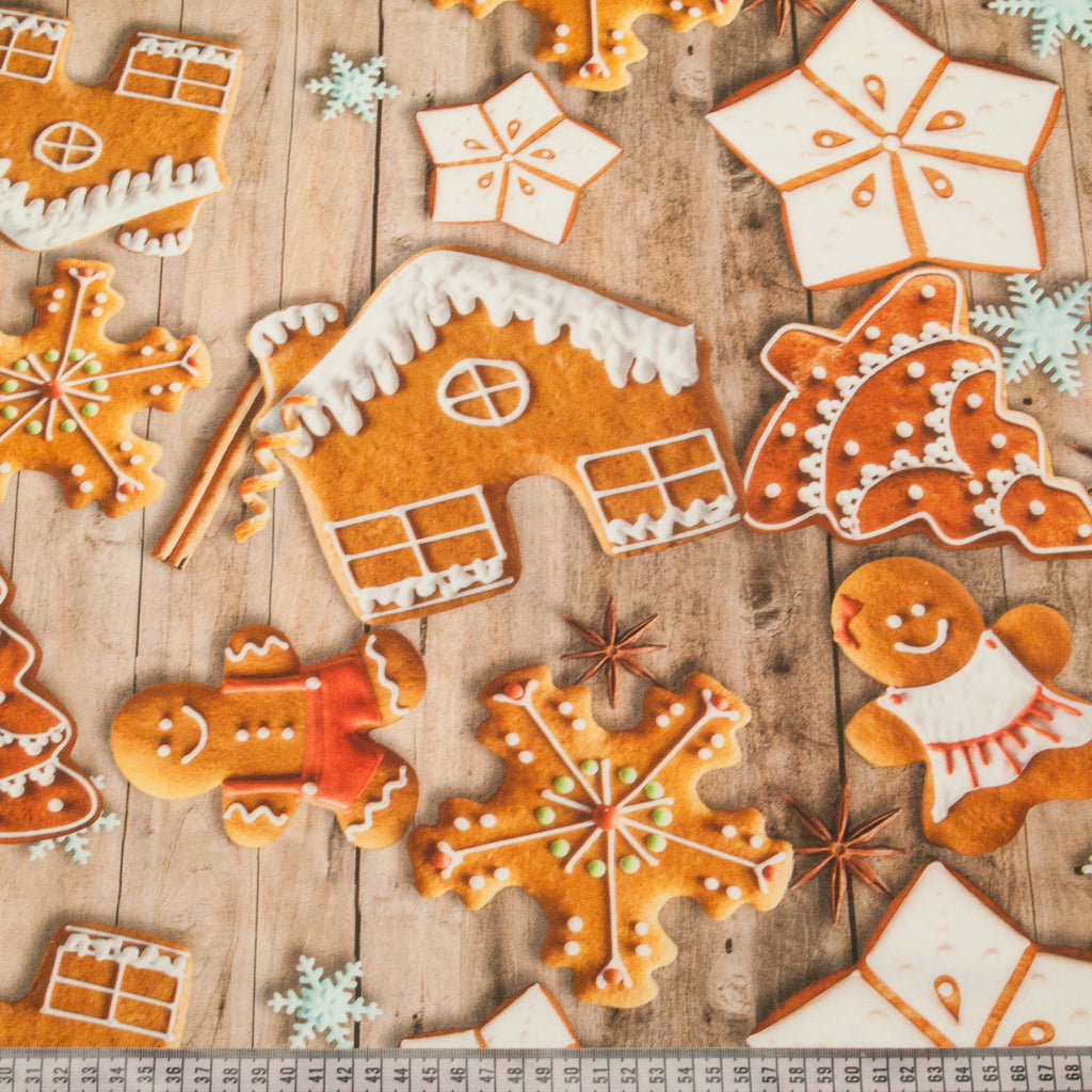Festive Gingerbread Man & Houses- 100% Cotton Fabric