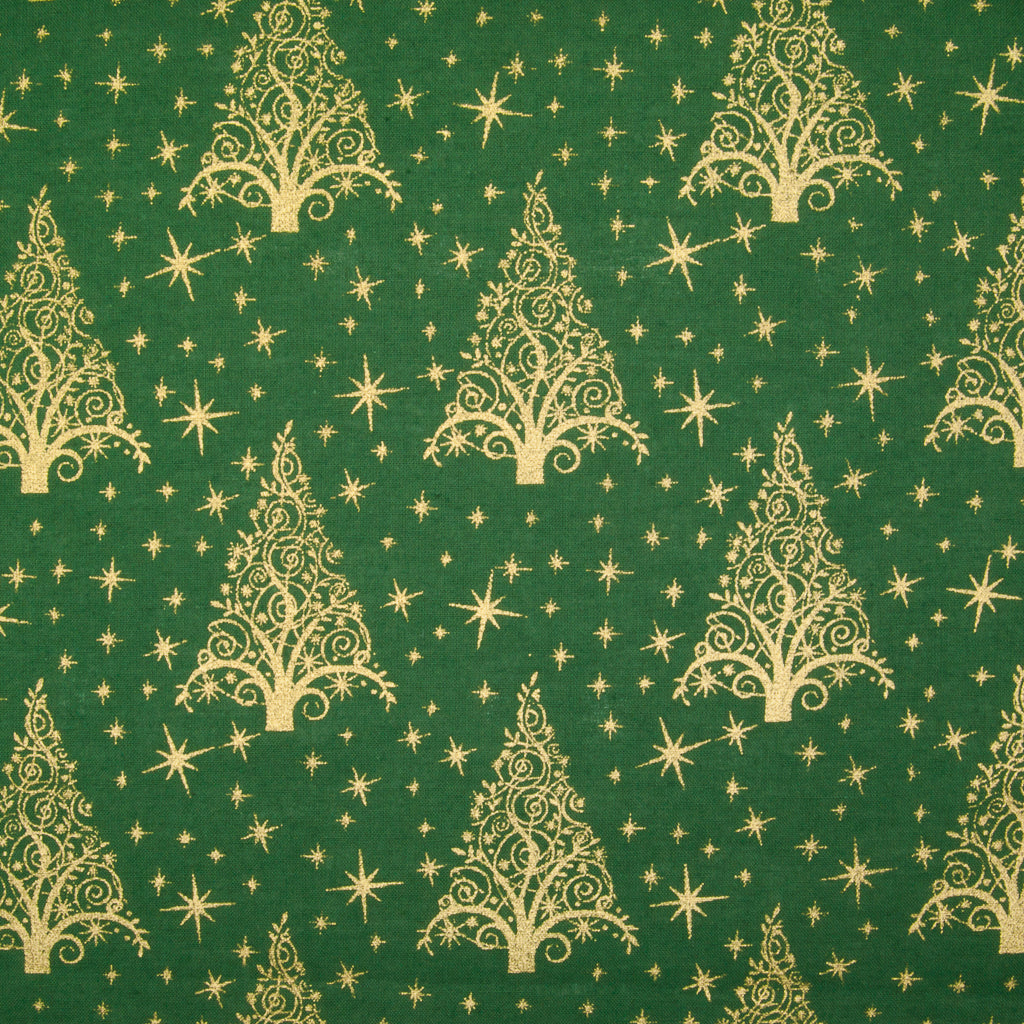 Metallic Gold Christmas Trees on Green - 100% Cotton Fabric