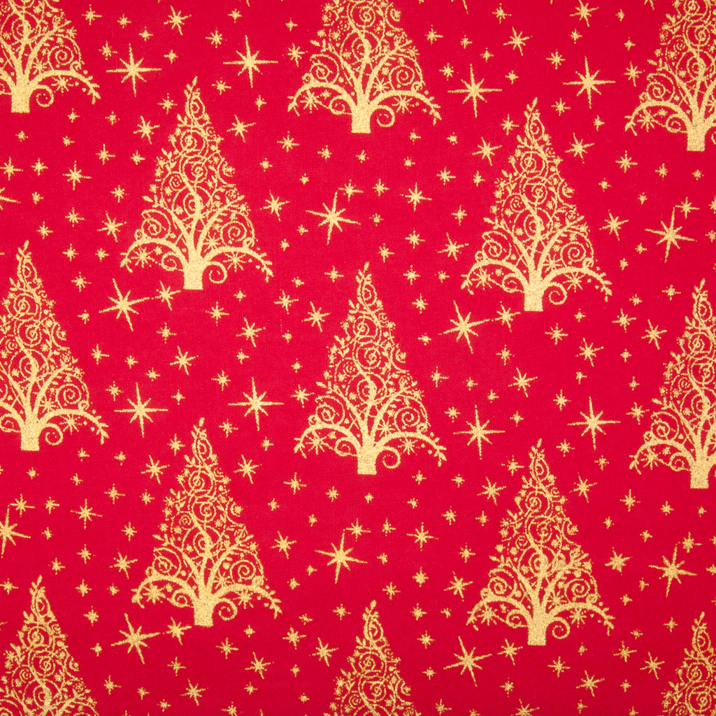 Metallic Gold Christmas Trees on Red - 100% Cotton Fabric