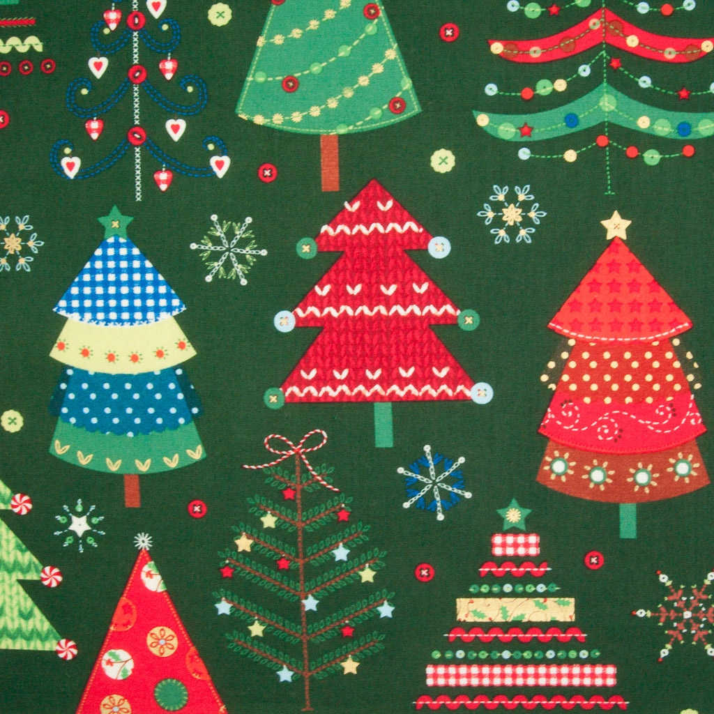 Large Colourful Christmas Tree on Green - 100% Cotton Fabric