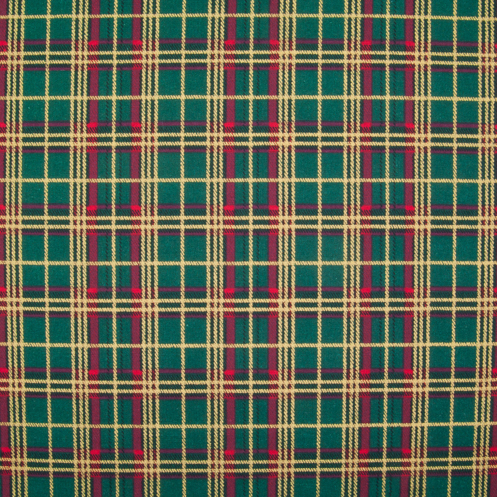 A medium sized gold lacquered and red tartan check on a green cotton fabric