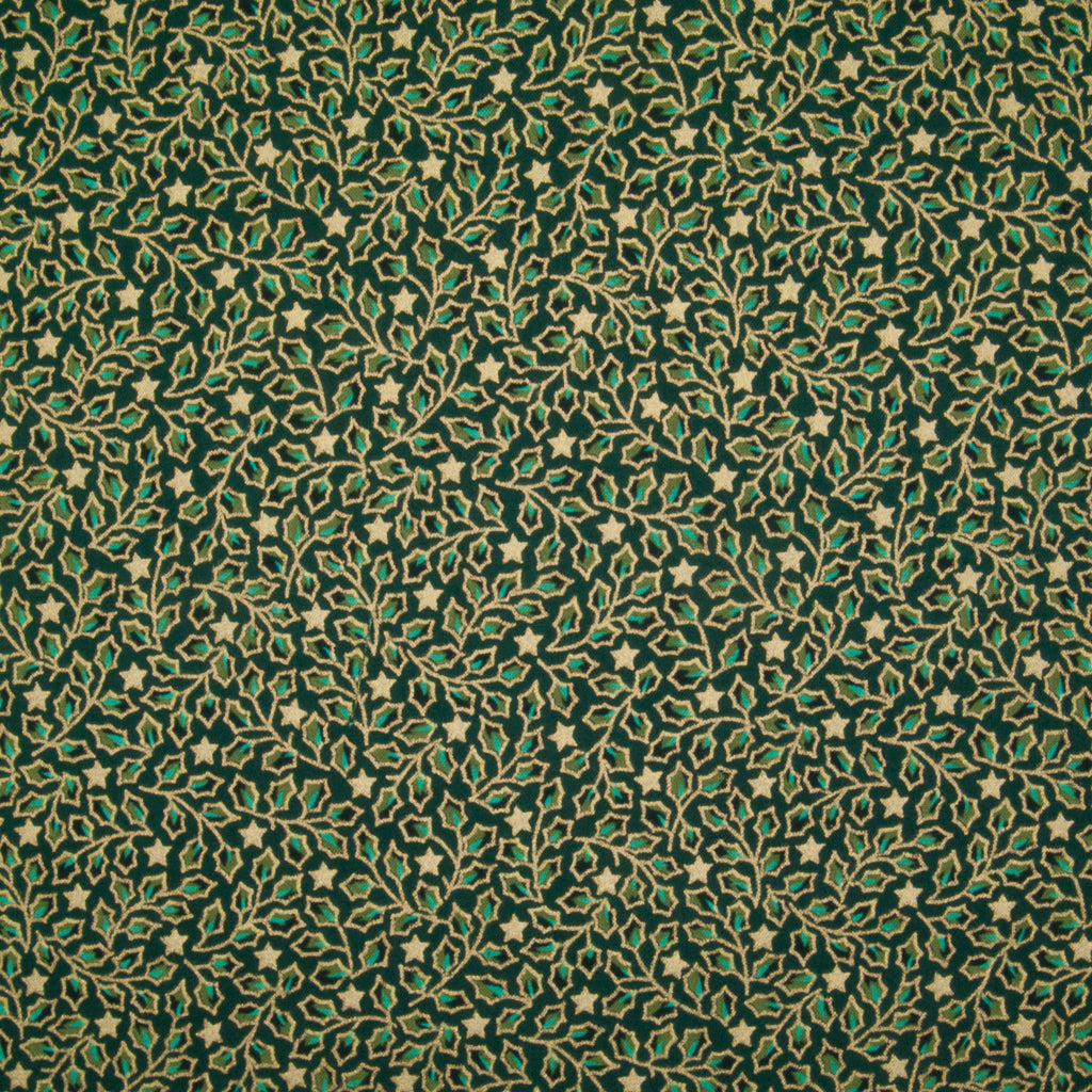 Mini Holly Leaves - Gold & Green on Green - 100% Cotton Fabric