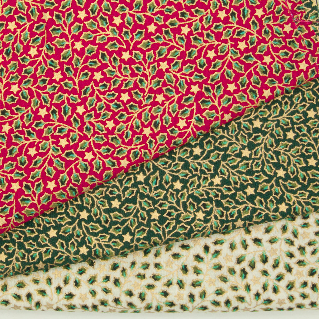 Christmas Cotton Fat Quarter Bundle - Red, Green & Ivory Mini Holly