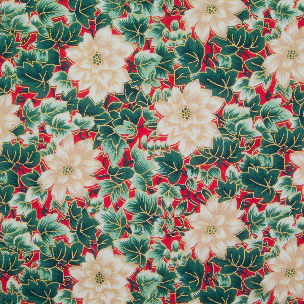 Poinsettia & Ivy Leaves - Gold & Green on Red - 100% Cotton Fabric