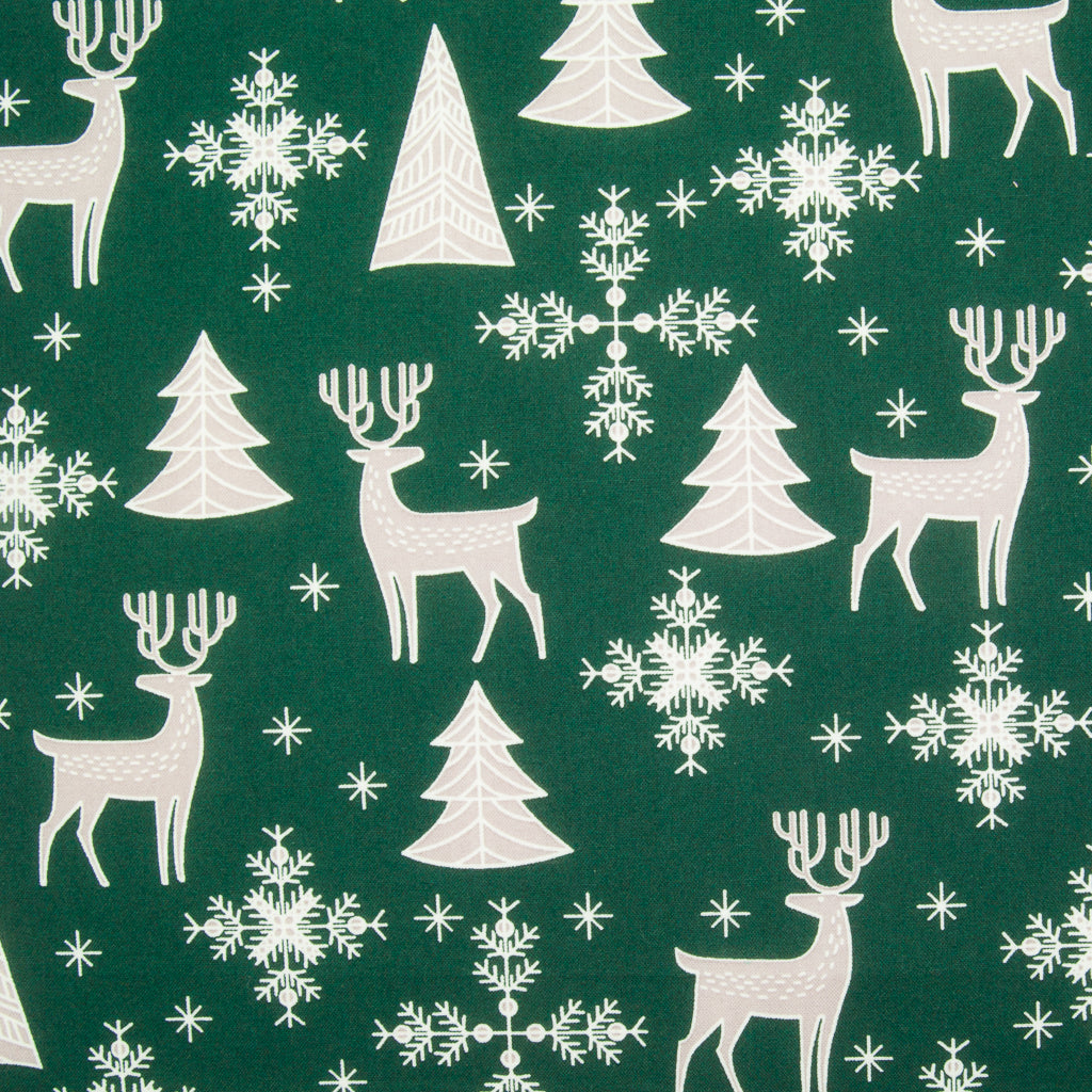 Christmas Reindeer on Bottle Green - 100% Cotton Fabric