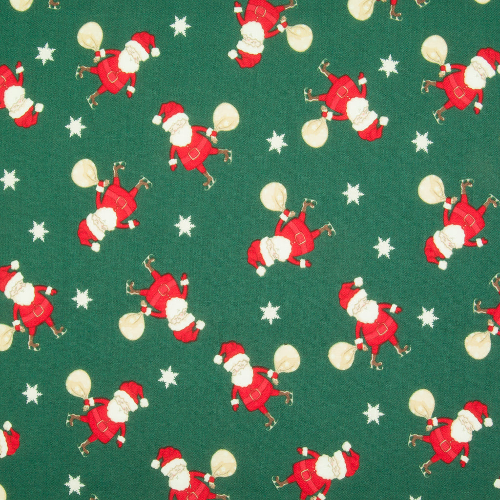 Santa & Sack on Green - 100% Cotton Fabric