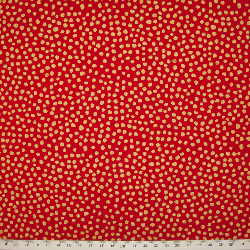 Tossed Gold Metallic Spots on Red - 100% Cotton Fabric