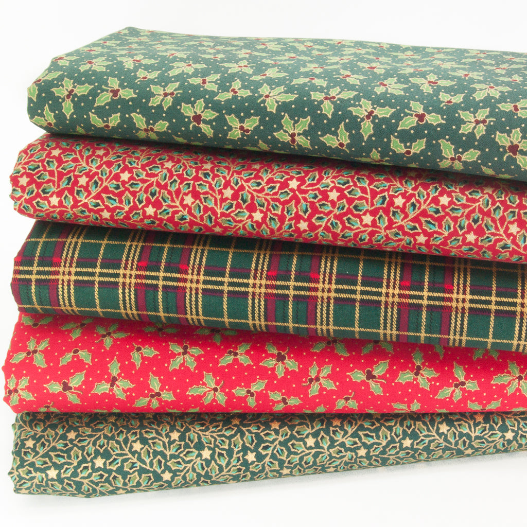 Christmas Cotton Fat Quarter Bundle - Red & Green Holly with Green Tartan