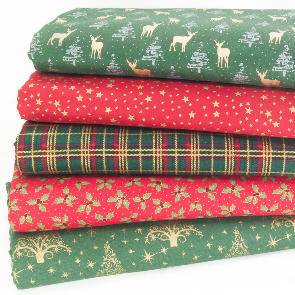 Christmas Fat Quarter Bundle - All 5 Cotton Fabrics