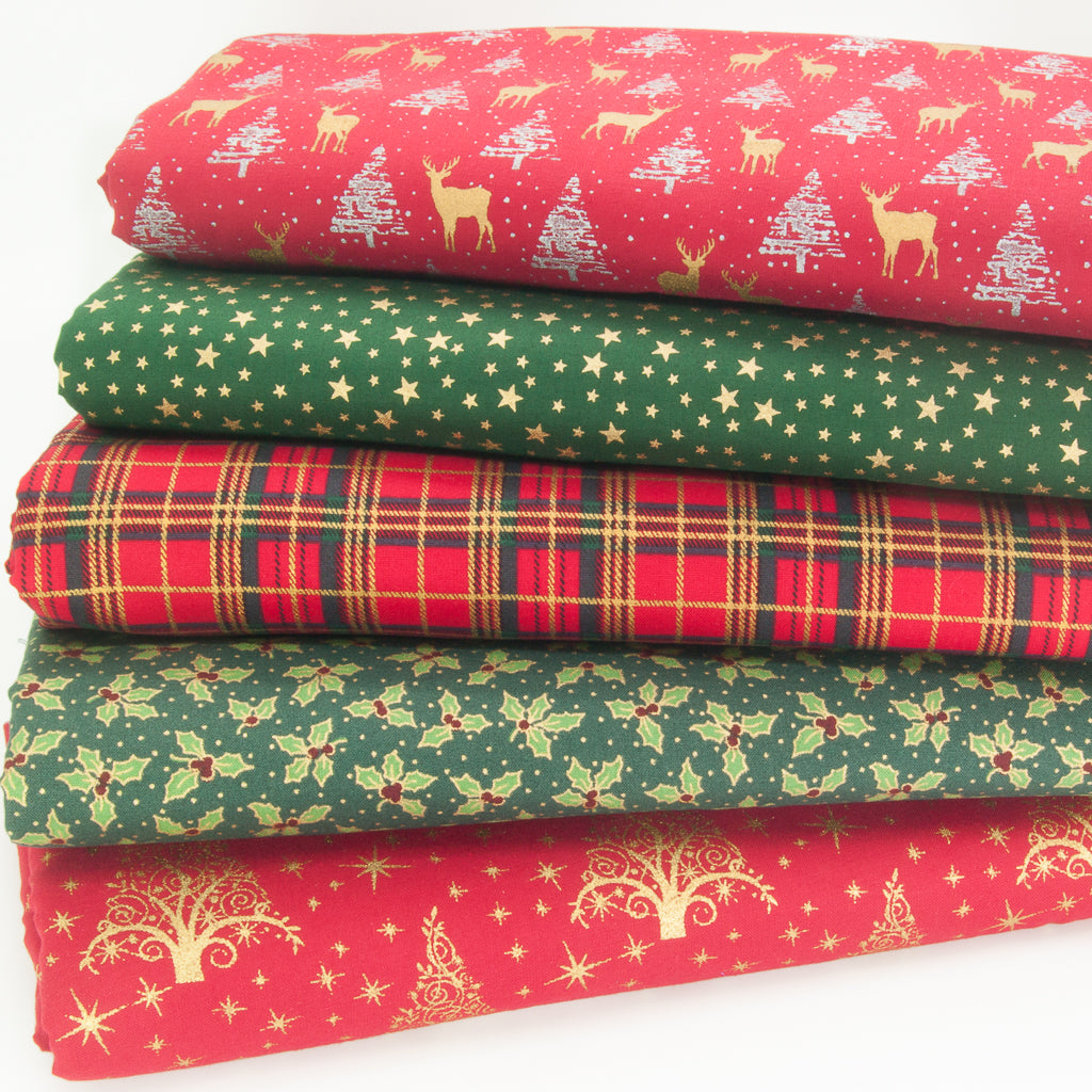 Christmas Cotton Fat Quarter Bundle - Red, Green & Metallic Gold Reindeer, Star & Tartan