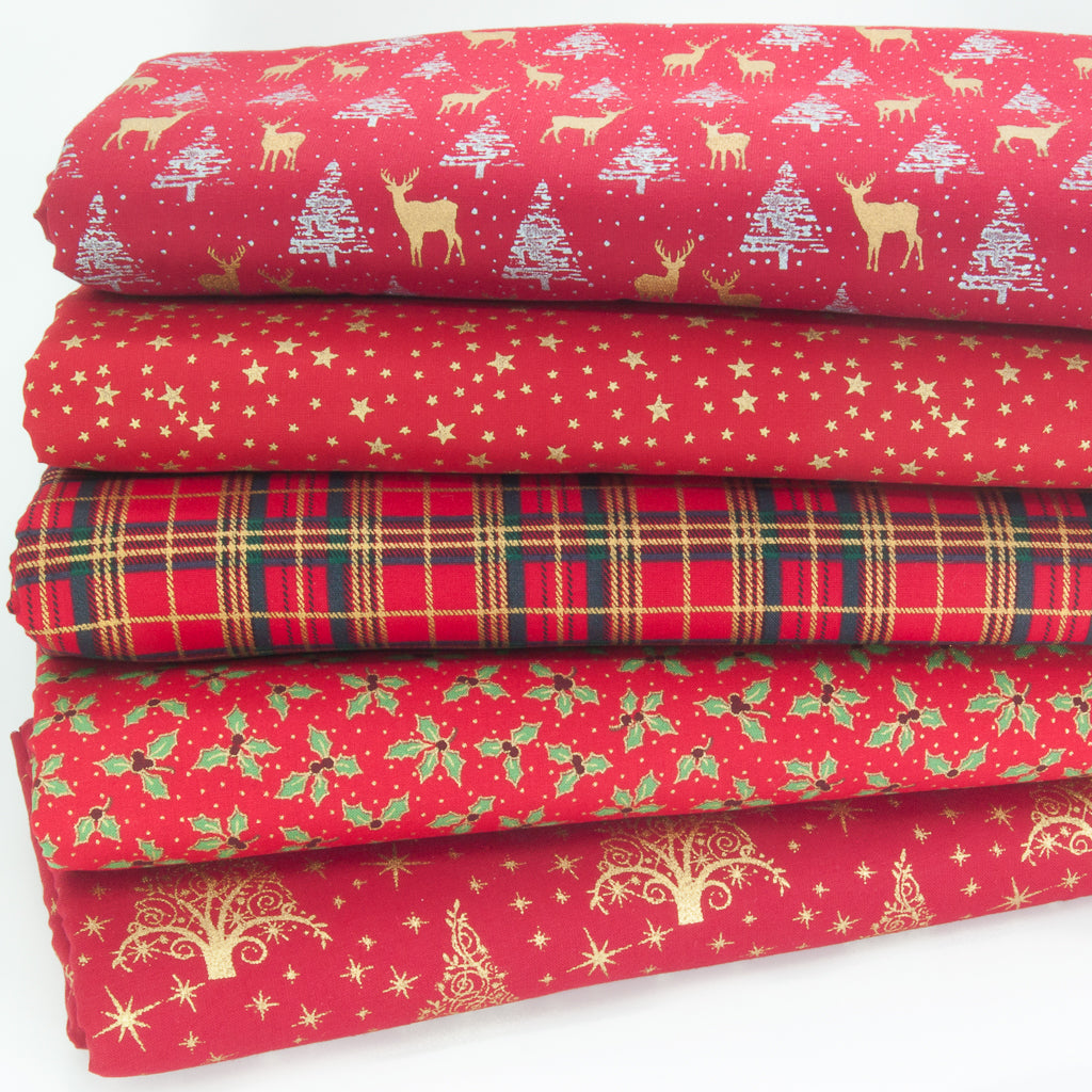 Christmas Cotton Fat Quarter Bundle - Red & Metallic Gold Reindeer, Holly, Tartan & Star